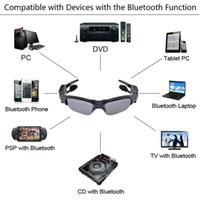 achat en gros de lunettes caméra vidéo mp3-Lunettes de soleil Casque Bluetooth + DV DVR Caméra Vidéo + Lecteur MP3 200w Mini Caméscopes Enregistreur Lunettes Surveillance Equipement d'équitation
