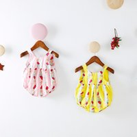 enzuo baby girl summer rompers - INS new arrivals summer baby kids climbing romper sleeveless full fruit print tank romper girl kids romper kids summer rompers T