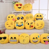 Wholesale 15 Style New Styles Soft Emoji Smiley Cushions Pillows QQ Facial Emotions Pillow Yellow Round Cushion Stuffed Plush Toy Gift For Baby Kids
