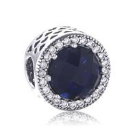 Acheter Coeurs bleus-Pendentifs de charmes Radiant Hearts S'adapte au Bracelet de Serpent Bijoux populaires en Europe Bijoux en or 925 Sterling Silver Blue Beads