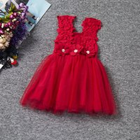 Wholesale Baby Girl Dress Summer Lace Strap Children Kids Cotton Toddler Clothes Princess Lovely Party Dress For Girls Ceremonies Birthday