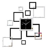 Wholesale living room new wall clock d diy clocks home decoration watch horloge murale quartz acrylic mirror stickers