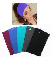 Wholesale 4 inch Women Raw Edge Wide Cotton Stretch Headbands Yoga Sports Sweat Hairbands Headwrap Hijab Bandage Bandana Turban Gum
