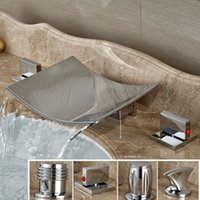 Wholesale 4 Style Dual Handle Three Holes Bathroom Sink Basin Faucet Waterfall Deck Mounted Bathtub Mixer Taps