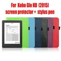 auto leather protector - Kobo Glo HD Protective Case Leather Cover Case funda for Kobo Glo HD with Auto Wake Sleep screen protector stylus pen