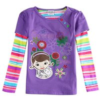 animal product manual - Purple Floral mosaic girl long sleeved T shirtThe store recommended cotton products Manual measurement