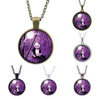 Pendant Necklaces best panda pictures - Retro fashion gem Panda Pendant Chain Vintage Jewelry Time HD picture Glass Pendant Souvenirs Best Gifts