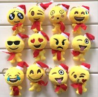Wholesale 17 Style QQ Emoji Plush Dolls Keychain CM Smiley Pillow Small Plush Doll Keychain Pendant Emotion Yellow hat Expression Stuffed Toys
