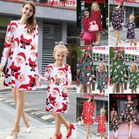 Wholesale Christmas Parent Child Dresses Womens Girl Santa Dress Snowman Mini Shift Dress Family Matching Outfits Mother And Daughter Dress
