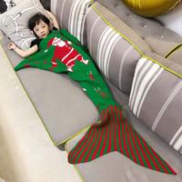 Wholesale Kids Mermaid Blankets Christmas Santa Claus Blankets Mermaid sleeping bag Children Sofa Blanket Bedding Wrap CM JF