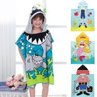 Wholesale Ultra fine fiber printed children s cloak Princess Pirate Beach Swimming Towels Boys Girls Baby Kids cloak poncho Bath Robes MD112