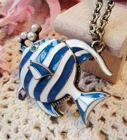 beautiful tropical fish - Cheap European and American fashion jewelry blue tropical fish retro sweater chain long necklace beautiful