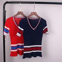Precio de De manga corta cuello en v-2017 Marca Same Style Sweaters Mujer Pullovers Camisetas V cuello manga corta Regular Striped Pullovers Mujer Sweaters Rojo / Azul G1