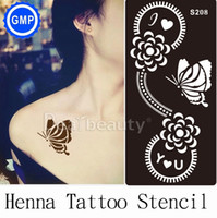 Wholesale sheet Henna Tattoo Stencils Template professional compatible with Henna tatoo paste butterfly for Body Painting supplies S208