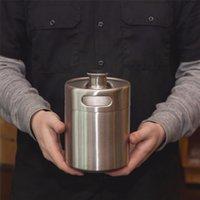 Wholesale Stainless Steel L oz Mini Beer Bottle Barrels Beer Keg Screw Cap Beer Growler Homebrew Wine Pot Barware For Party