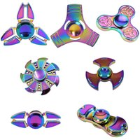 Multicolor rainbow fidget spinner - Rainbow Three Leaves Hand Spinner Crabs Leg Style Gyro Cyclone Fidget Spinner EDC aluminium alloy HandSpinner Decompression Anxiety OTH395