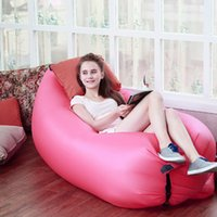 Wholesale Fast Inflatable Camping Sofa Banana Sleeping Lazy Chair Bag Nylon Hangout Air Beach Bed Couch Lay Inflatable sofa Outdoor Sleep DHL