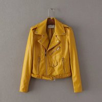 al por mayor chaqueta de cuero de imitación de color amarillo-Moda de cuero chaquetas de piel de las mujeres falso abrigo de cuero Abrigo Outwear Ropa de otoño de primavera Ropa de marca XS-XL Free Shipping Yellow Blue