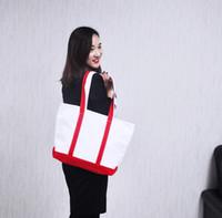 Wholesale Cloth Bags Zippers - Wholesale-Cloth bags Shoulder Bags Plain canvas bag female handbag one shoulder bag shopping bag Red free shopping