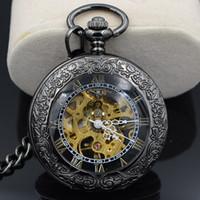 antique timepieces - Steampunk Skeleton Male Clock Transparent Mechanical Open Face Retro Ver Vintage Pendant Pocket Watch W Chain Luxury Timepiece