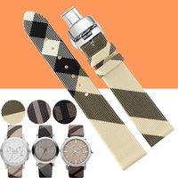 Genuine Leather Grid Pattern 12mm 14mm 16mm 18mm 20mm 22mm Watch Band Strap Watch Strap Lady Woman pour BU9403 BU9504 Watchband + Tool