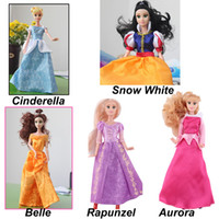 Wholesale Disny Princess Fashion Fairy Dolls Sofia Snow White elsa Cinderella Doll tangled rapunzel Aurora Belle Kids Toys For Girls