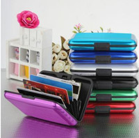 Wholesale 14 colors Aluminum Business ID Credit Card Wallet Waterproof RFID Card Holder Pocket Case Box TA181