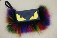 Wholesale real Raccoon fur Handbag Girls Black Monster Messenger Bag Fashion women Purse Mini Bag Woman Cosmetic multicolour fur Bag