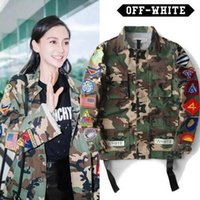 Wholesale High Quality Mens male Womens Justin Bieber Camouflage Off White Jacket Kanye West Fashion Military Camo Off Jackets And Coats