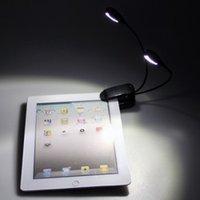 Flexible 2 clip double bras sur 4 LED Light Lamp pour la lecture de piano de musique de randonnée Camping DHL FEDEX LIVRAISON GRATUITE