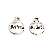 Wholesale Tibetan Silver Plated Words Believe Charms Pendants for Jewelry Making DIY Handmade Craft x12mm A119
