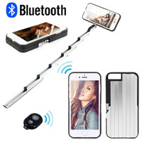 Wholesale HIgh Quality Handheld Selfie Stick Case Self timer Retractable Aluminum Back Cover for Apple iPhone Free DHL