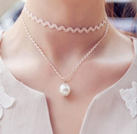 Wholesale jewelry Chokers Necklace locket necklaces Simple girl women short chain collar pearls lace double ethnic silver Necklaces Pearl statement