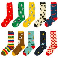 aircraft tubes - colorful high quality cotton Women happy socks Fashion cute cartoon Print Bear Aircraft Star in tube socks