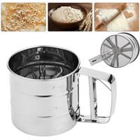 CE / EU baking sifter - Stainless Steel Mesh Flour Sifter Mechanical Baking Icing Sugar Shaker Sieve Cup Screen Mesh Powder Flour Sieve Baking Tools