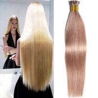 Brand New Straight I Extension des cheveux Conseil 18-24 Inch Smooth Indian Virgin cheveux Extensions 100 Sticks 50g Femmes pré-collés Tissures cheveux humains