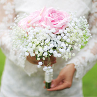 Wholesale The Stars Artificial Flowers Bridesmaid Bouquet White Pink Silk Rose Bridal Bouquet Handmade Holding Flowers Bride Wedding Accessories