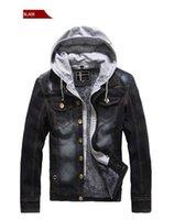 Vestes de marque pour homme Veste en jean de molleton d'hiver Hommes Deux fausses manteaux en denim avec capuche M-3XL JK-446