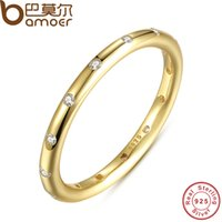 Wholesale BAMOER K Gold Plated Sterling Silver Droplets Stackable Ring Polished CZ Original Fine Jewelry PA7141