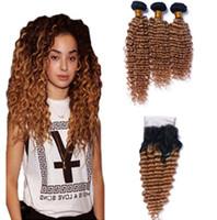 Enredadera Rubia del cordón de la miel de las raíces oscuras con 3 paquetes 1B 27 El pelo brasileño profundo de la onda profunda brasileña riza la extensión del pelo de las telas