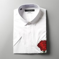 Wholesale Bright Rose Embroidery Beaded bee accessories poplin cotton casual men s shirt