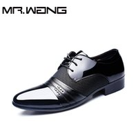 ab business - Cheapest Working Office shoes mens patent leather shoes business wedding shoes lace up Pointed toe flats big size AB