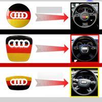 Wholesale 3 Types Car Audi Steering Wheel Center Cover Sticker Decoration for A4L A6L A3 Q5 Q3 Q7 S3 S7