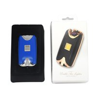arc stock - Brand new fashion colors USB Electric Dual Arc Metal Flameless fingerprint Rechargeable Windproof Lighter
