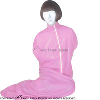 achat en gros de sac zentai-Rose Red Sexy Latex Sleep Sack avec Zip à l'avant Bondage Body Bag Body Fetish Bodybag Taille Plus