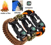 Wholesale Outdoor Survival Bracelets in Gear Kits Escape Paracord Bracelet Flint Whistle Compass Scraper for Hiking Camping DHL Free