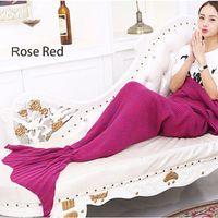 Wholesale 80cm cm Large Mermaid Blanket Pattern Crochet Mermaid Tail Knitted Mermaid Tail Blanket Adult Child
