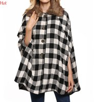 Acheter Poncho laine femmes s-Femmes Cape Casual Jacket Bat Sleeve Poncho Wool Outwear Shawl Plaid en laine Poncho Cloak Plus Size Loose Jacket Cape Coat Fur Collar YC001263