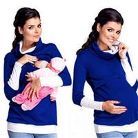 Wholesale Fashion Women Maternity Nursing T Shirt Blouse Breastfeeding Clothes Fall Long Sleeve Pregnant Women s Wearing
