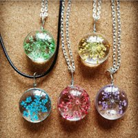 Wholesale Color dry flower necklace all over the sky star time gem ice pellet craft glass flowers jewelry pendants